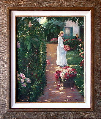 LADY IN THE GARDEN  Hand Painted Oil On Canvas Framed