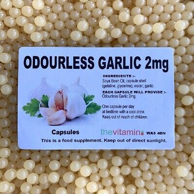 The Vitamin Odourless Garlic 2mg 90 Capsules-Bagged New Size,Easier to Swallow