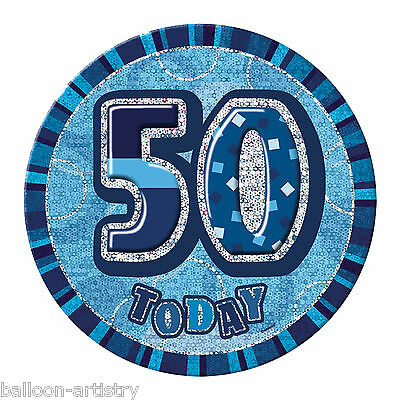 "6"" BLUE Glitz Giant 50th Today Birthday Party Badge"