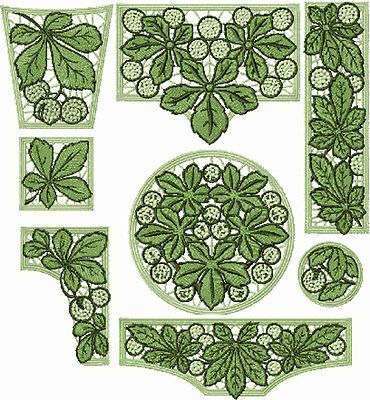 """ABC Designs Chestnut Lace Standalone Machine Embroidery Designs Set 5""""x7"""" Hoop"""
