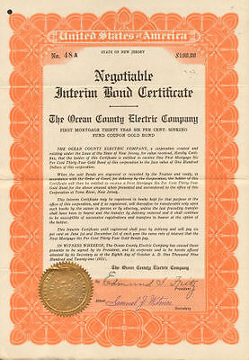 Ocean County Electric certificate signed Edmund S Fritz