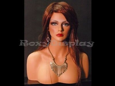 Female Fiberglass Mannequin Head Bust Wig Hat Jewelry Display #MEGAN