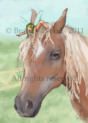 Funny Fantasy HORSE Palamino PIXIE Fairy ACEO art card nature print Brandy Woods