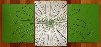 ORIGINAL ABSTRACT CANVAS PAINTING DAISY x 3 LIME SILVER BLACK DEE'S FUNKY ART