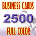 2500 Custom Color Business Cards + Glossy + Free Design