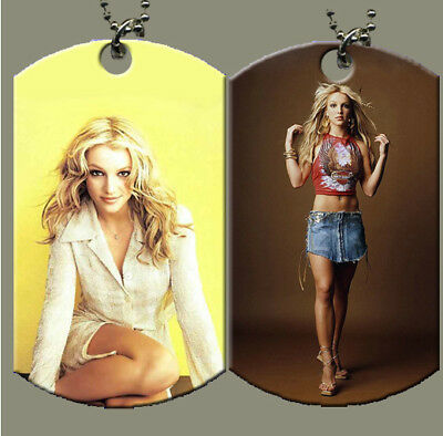 Britney Spears Dog Tag with Beaded Chain