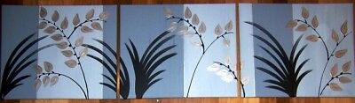 ORIGINAL ABSTRACT CANVAS PAINTING x 3 GREY SILVER BLACK