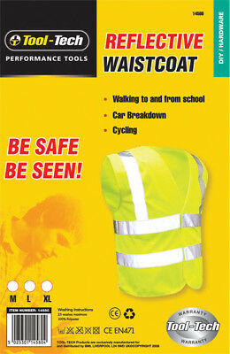 Tool-Tech Yellow Hi Vis High Visibility Reflective Safety Vest Waistcoat