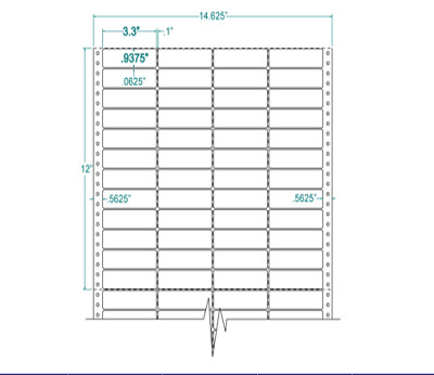 """3.3"""" x 15/16"""" Mailing Labels Pinfeed 1"""" Repeat 4 Across 140354"""