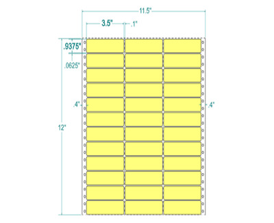 "3.5 x .9375 Yellow Mailing Labels 3 Across 11.5"" Carrier 130702"