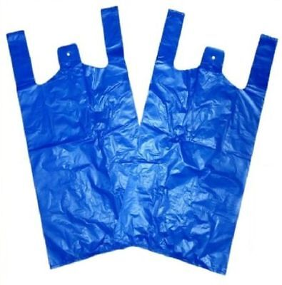 500 Strong Blue Carrier Bags Vest XXL Large Jumbo 18mu 12x18x23""