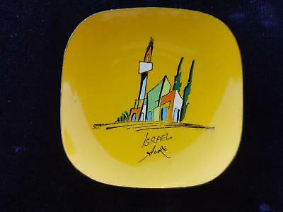 israel enamel hand painted Acre vtg small plate 50's
