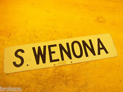 Vintage S Wenona Street Sign ~ Bay City, Michigan