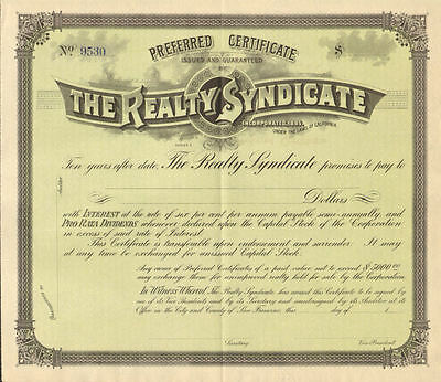 Realty Syndicate   S.F. California stock certificate