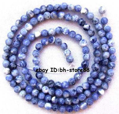 """3mm natural blue Sodalite Round loose Small Gemstone Beads 15"""""""