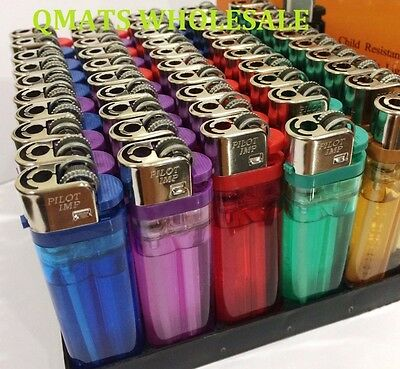 NEW LOT OF 100 DISPOSABLE CIGARETTE LIGHTERS Classic Full Size WHOLESALE