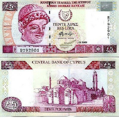 Cyprus 5 Pound  note(s)   issued   01/09/2003  UNC