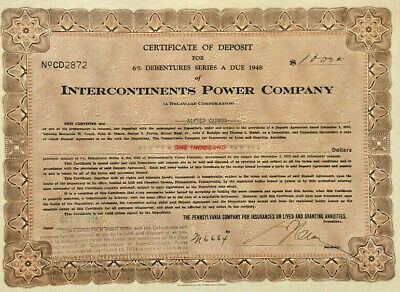 Intercontinents Power Company stock certificate share
