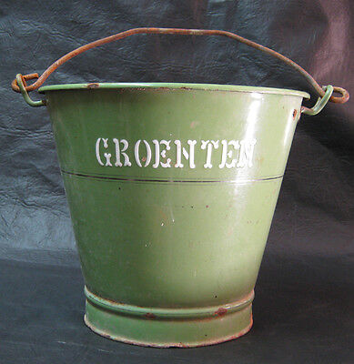 RAREST old green enamelled bucket SCHÖPFEIMER groenten