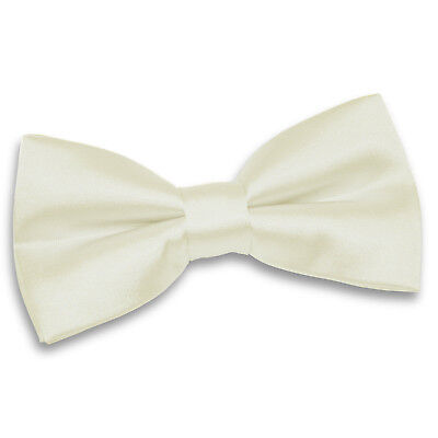 DQT Satin Plain Solid Ivory Formal Classic Mens Pre-Tied Bow Tie