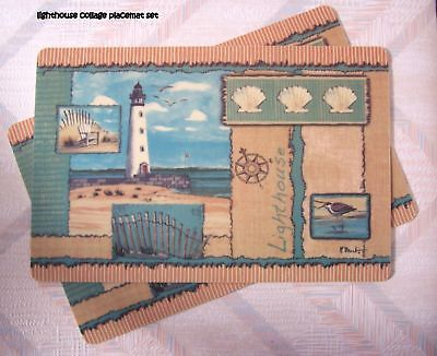 Lighthouse Placemat Set Lighthouse Collage Pattern
