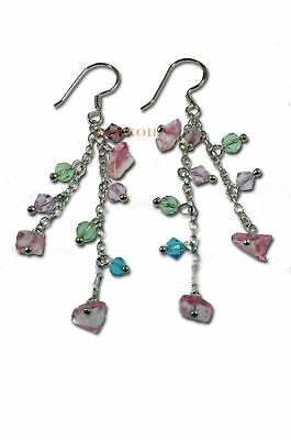 Sterling Silver Earrings MULTI crystals pink green purp