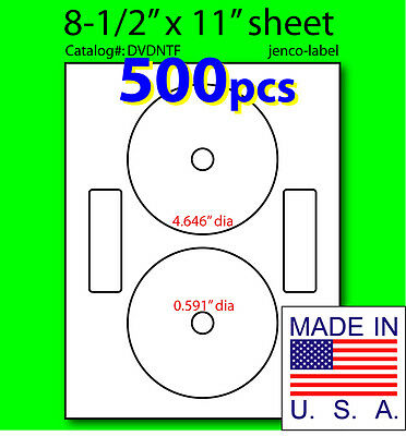 DVDNTF, 500 CD/DVD Labels Neato Compatible Full Face