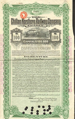 Chilian Northern Railway > Chile bond certificate stock
