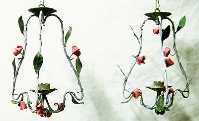 Antique provenzal iron pair of chandeliers with roses