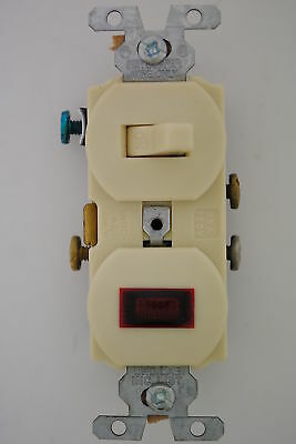 GE Cat. No. 7945-2UPC  Ivory Single Pole Toggle Switch W/ Pilot Light 15A, 120V
