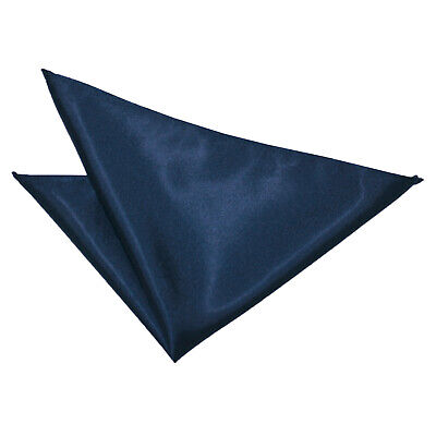 DQT Satin Plain Solid Navy Blue Formal Handkerchief Hanky Pocket Square