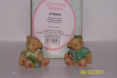 Cherished Teddies Paws For Luck Mini Figurines