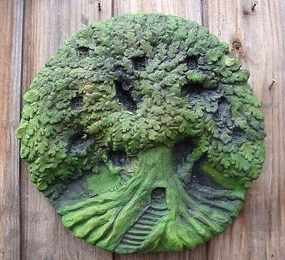 Fairy treehouse decorative round wall plaque stone home or garden ornament 27cmW
