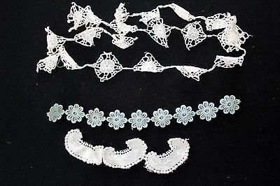5 Odd Lot Pieces Oflace Trim + 2 Spools French Thread