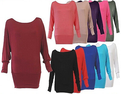 New Baggy Batwing Tunic Slouch Ladies Jumper Top 8-16