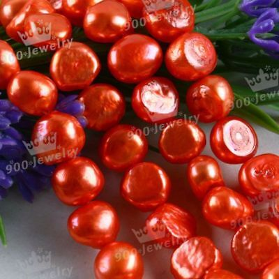 "9-10Mm Cultured Freshwater Deep Orange Pearl Beads 15""l"