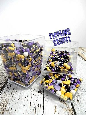 45g MERLINS STORM CUPCAKE DECORATIONS DELUXE SPRINKLES BAUBLES PURPLE GOLD BLACK