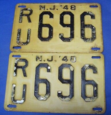 1948 New Jersey Pair License Plates