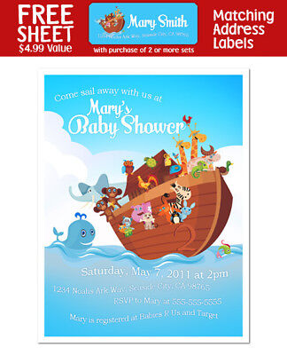 8 Noah's Ark Personalized Baby Shower OR Birthday Party Invitations
