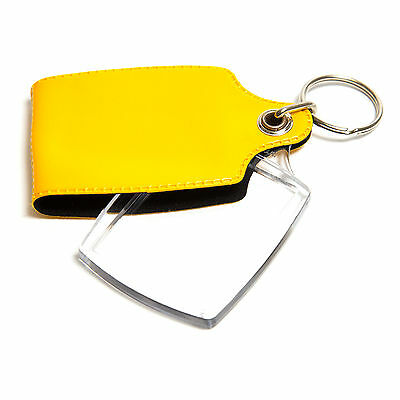 100 YELLOW CASED CLEAR KEYRINGS 45mmx35mm PHOTO COVERED