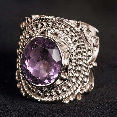 Genuine .925 Silver Faceted Purple AMETHYST RING ~ Size 8 ~ Up to 7.5g .27oz