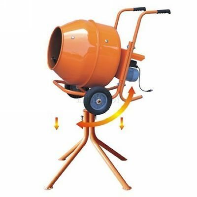 240v 140L Electric Concrete Cement Mixer Mortar Plaster With Wheels Stand New