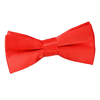 DQT Satin Plain Solid Red Communion Page Boys Pre-Tied Bow Tie