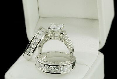 His & Hers Engagement Wedding Band Ring Set mens womens Princess Cut Cz Sterling