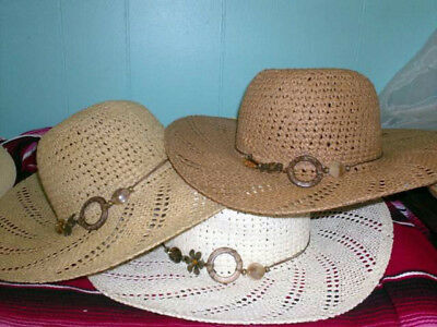 Ladies Natural Braided Toyo Lace Straw Wide Brim Floppy Summer Sun HAT bead  band 15872811d908