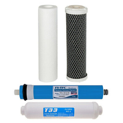 3 x REPLACEMENT REVERSE OSMOSIS WATER FILTER CARTRIDGES + 50 GALLON MEMBRANE