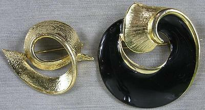 Lot of 2 Vintage Pins~Fancy Heavy Cast Goldtone & Black