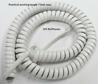 Pack//Lot of 5 Bright White 12 Ft Generic Handset Cord Phone Curly Coil Telephone