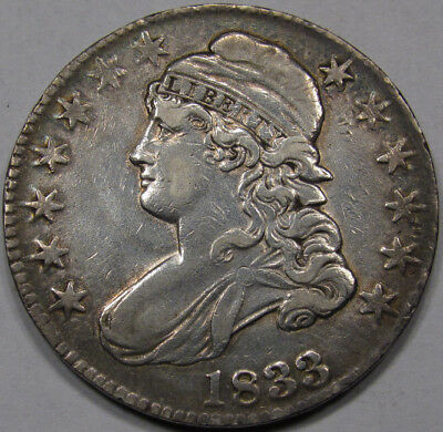 1833 Capped Bust Half Dollar. Choice AU. Rare in Original and Unharmed.
