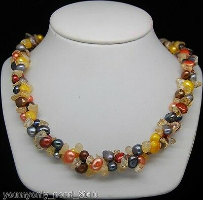 "MP"" Charming multi-colored baroque pearl necklaces 18"""
